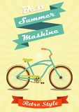 Bicycle done in retro style. Bike in retro style banners and the words on retro background with sun rays Royalty Free Illustration