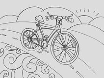 Bicycle Drawing. A hand drawn sketch of a Bicycle with background stock illustration