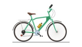 Bicycle with drinking flask isolated on white vector illustration. Healthy lifestyle means of transport on two wheels, with metalic chain and container with Royalty Free Stock Photography