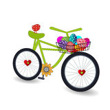Bicycle with easter Eggs in Basket. Cycle with easter Eggs in Basket and cute bird on the seat Stock Photo