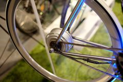 Bicycle electric motor. Wheel, technology, bicycle e green royalty free stock images