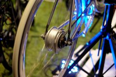 Bicycle electric motor. Wheel, technology, bicycle e green royalty free stock photography