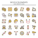 Bicycle Elements. Thin Line and Pixel Perfect Icons royalty free illustration