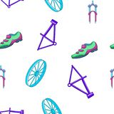 Bicycle equipment pattern, cartoon style Stock Photography