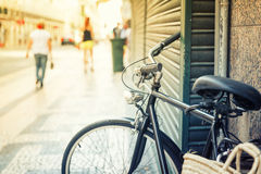 Bicycle on the european streer Royalty Free Stock Photos
