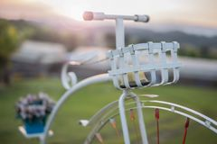 Bicycle in the evening sunset time stock photos