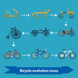 Bicycle evolution icons flat. Illustration with bicycle evolution icons from oldest to modern in flat style Stock Photography