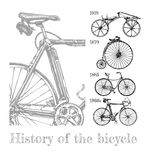 Bicycle evolution set. Vector hand drawn illustration of bicycle evolution set in ink hand drawn style. Types of cycles: draisine, penny-farthing, safety bicycle Stock Photography