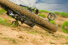 Bicycle expedition. Modern mountain bicycle after driving on impassability royalty free stock photos