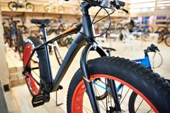 Bicycle with fat tires in sports shop Royalty Free Stock Image