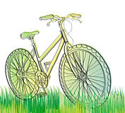 Bicycle at field. With green grass, illustration Royalty Free Stock Photography