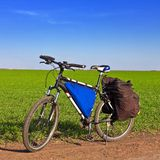 Bicycle among a fields Stock Photos