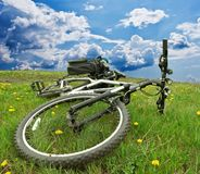 Bicycle in a fields. Bicycle lying in a fields royalty free stock photos