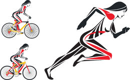Bicycle fitness and run. Bicycle races fitness and run stock illustration