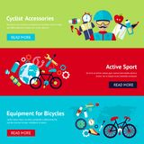 Bicycle flat banner set. Bicycle active sport fitness flat banner set with cyclist accessories equipment isolated vector illustration Royalty Free Stock Photography