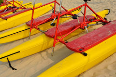 Bicycle floater. Arrange on sand, shown as marine sport and entertainment or enjoy Stock Photos