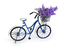 Bicycle with flower basket of lavender flowers Stock Photo