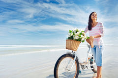 Bicycle flower woman Stock Image