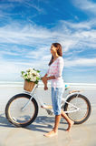 Bicycle flower woman Stock Photo