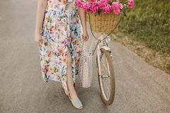 Bicycle with flowers in the basket. The image is suitable for use as a background image or as an emotional image. This. Image has a retro feel because it uses Royalty Free Stock Image