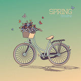 Bicycle With Flowers in Basket in Retro Style. Spring Breathe Royalty Free Stock Photos