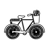 Bicycle with flowers drawing Stock Image