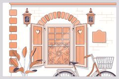 Bicycle with flowers near provence style house.Line vector illustration stock illustration