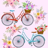 Bicycle with flowers pattern. Cute red and blue bicycle with Flower Basket in garden pattern vector illustration