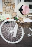 Bicycle and food basket Royalty Free Stock Images
