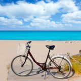 Bicycle in formentera beach on Balearic islands Royalty Free Stock Photos