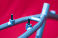 Bicycle frame detail. Slots for the rear v-breaks on a bicycle frame royalty free stock image