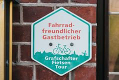 Bicycle friendly sign stock photography