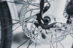 Bicycle front brake disc of mountain bike stock photo