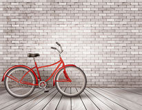 Bicycle in front of a grey brick wall. vector illustration