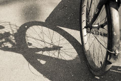 Bicycle front wheel. In black and white - old photo effect stock image
