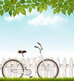Bicycle in front of a white fence with green leaves. Stock Photos