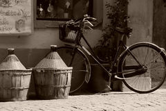 Bicycle in front of Wine shop stock photo