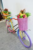 Bicycle Fruit Shop. A greengrocer, also called a produce market or fruiterer, is a retail trader in fruit and vegetables; that is, in green groceries Stock Photos