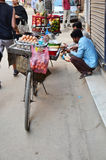 Bicycle Fruit Shop or greengrocery on the street at Thamel market Royalty Free Stock Photography