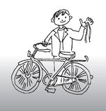 Bicycle fun. Hand drawn illustration of a happy boy standing beside his bike royalty free illustration