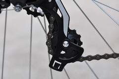 Bicycle gear. Macro detail of mountain-bike chain with gear royalty free stock photography