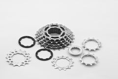 Bicycle gear parts. Back gear parts of a high speed bicycle.Shot with Canon 70-200mm f/2.8L IS USM Royalty Free Stock Photos