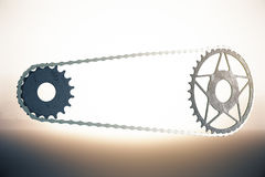 Bicycle gearing on bright background Royalty Free Stock Image