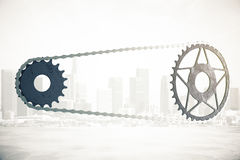 Bicycle gearing on city background Stock Image