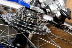 Bicycle gears. Rear bicycle sprocket set with derailleur Royalty Free Stock Image
