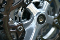 Bicycle gears. Macro of bicycle gears stock image