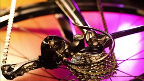 Bicycle gears mechanism on the rear wheel. Close up of working bicycle gears mechanism on the rear wheel stock video