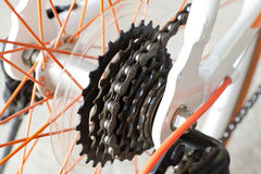 Bicycle gears mechanism on the rear wheel Stock Images