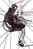 Bicycle gears and rear derailleur. Studio shot on white background Royalty Free Stock Images