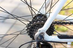 Bicycle gears. Road bicycle gears and chain stock image